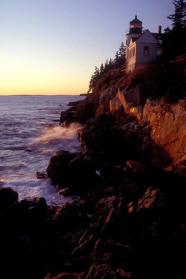 Sunset At Bass Harbor Lighthouse Photograph  - Sunset At Bass Harbor Lighthouse Fine Art Print