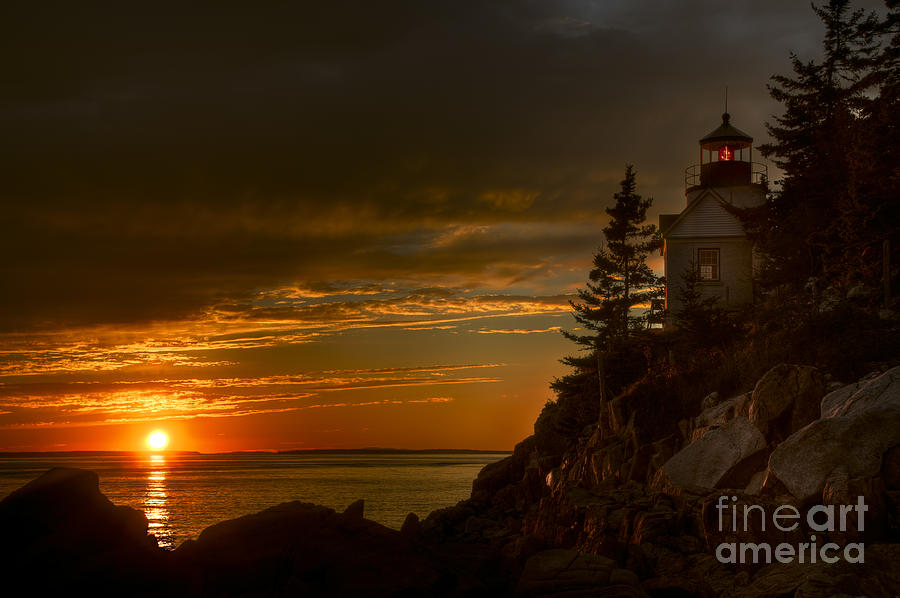 Sunset At Bass Harbor Lighthouse Photograph
