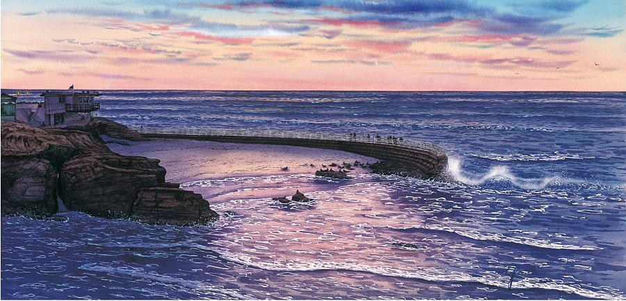 San Diego Paintings Painting - Sunset At Childrens Pool by John YATO