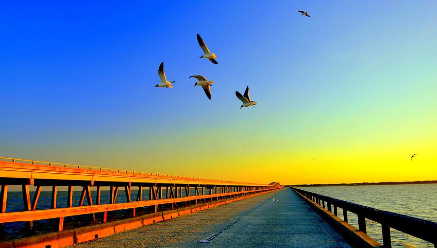 Sunset At Copano Bay Bridge Photograph