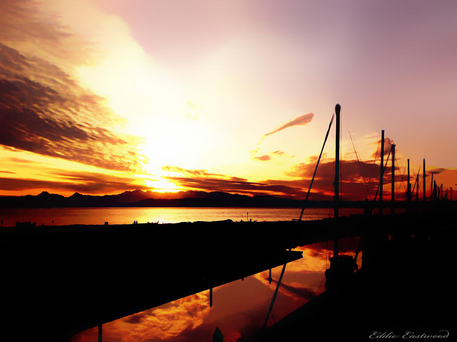 Sunset At Edmonds Washington Boat Marina 1 Photograph  - Sunset At Edmonds Washington Boat Marina 1 Fine Art Print