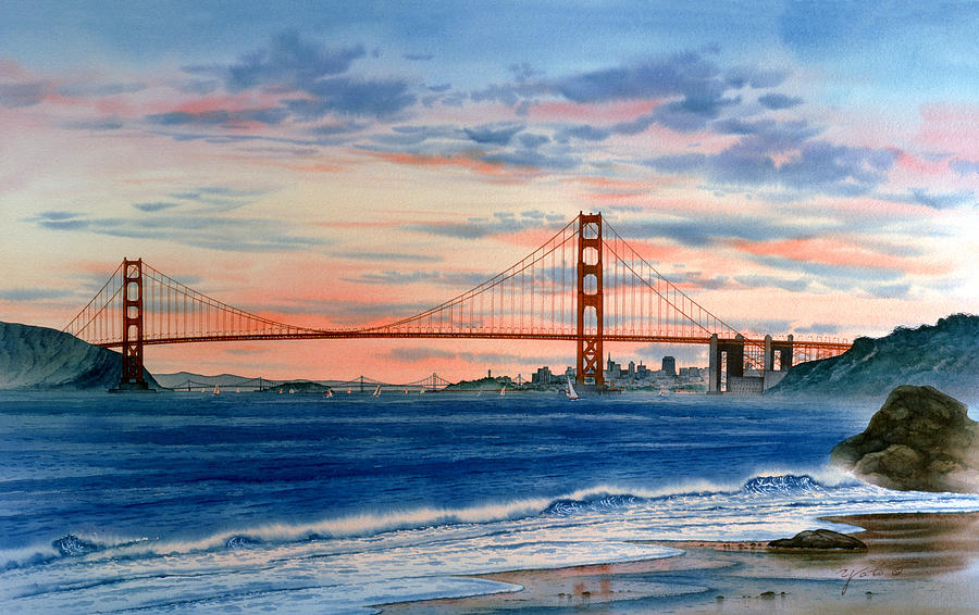 Sunset At Golden Gate Bridge Painting  - Sunset At Golden Gate Bridge Fine Art Print