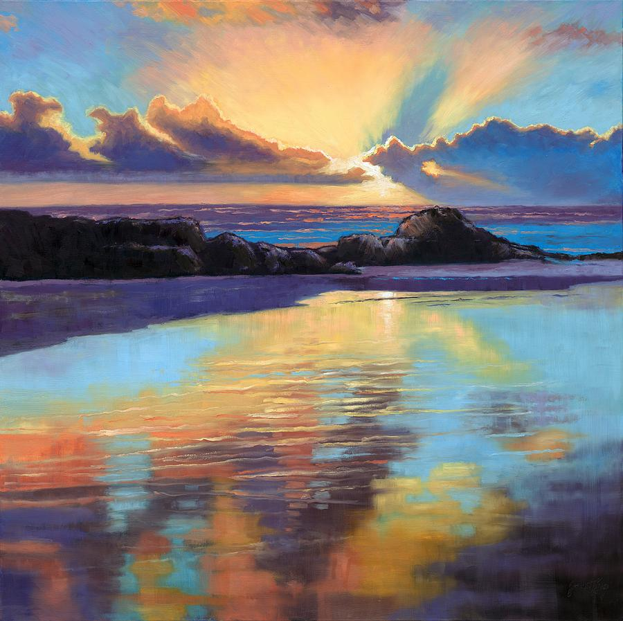 Sunset At Havika Beach Painting