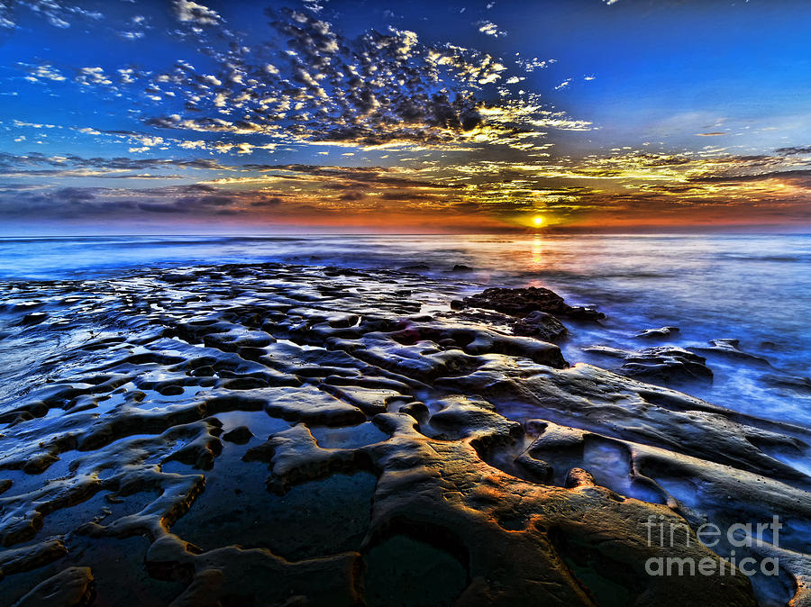 Sunset At La Jolla Tide Pools Photograph  - Sunset At La Jolla Tide Pools Fine Art Print