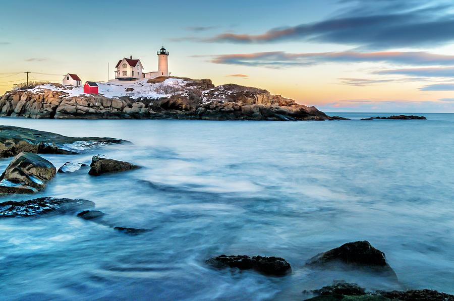 Sunset At Nubble Light-cape Neddick Maine Photograph