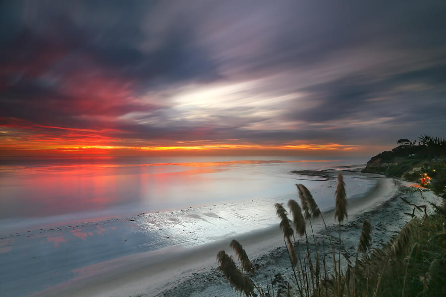 Sunset Photograph - Sunset At Swamis Beach 4 by Larry Marshall