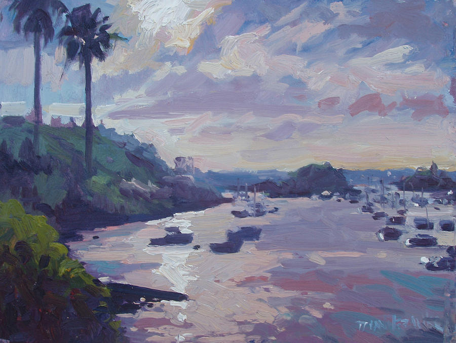 Sunset At Waterlot Painting  - Sunset At Waterlot Fine Art Print
