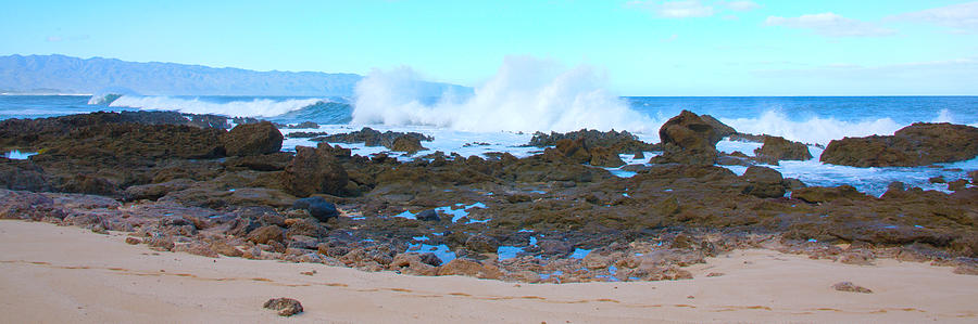 Sunset Beach Crashing Wave - Oahu Hawaii Photograph