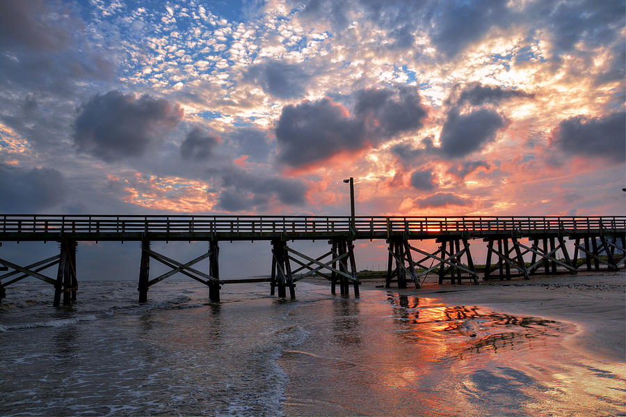 sunset beach fishing pier photograph by savannah gibbs