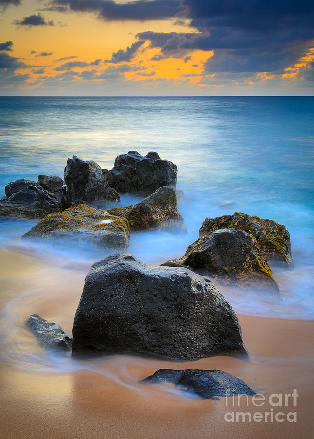 Sunset Beach Rocks Photograph