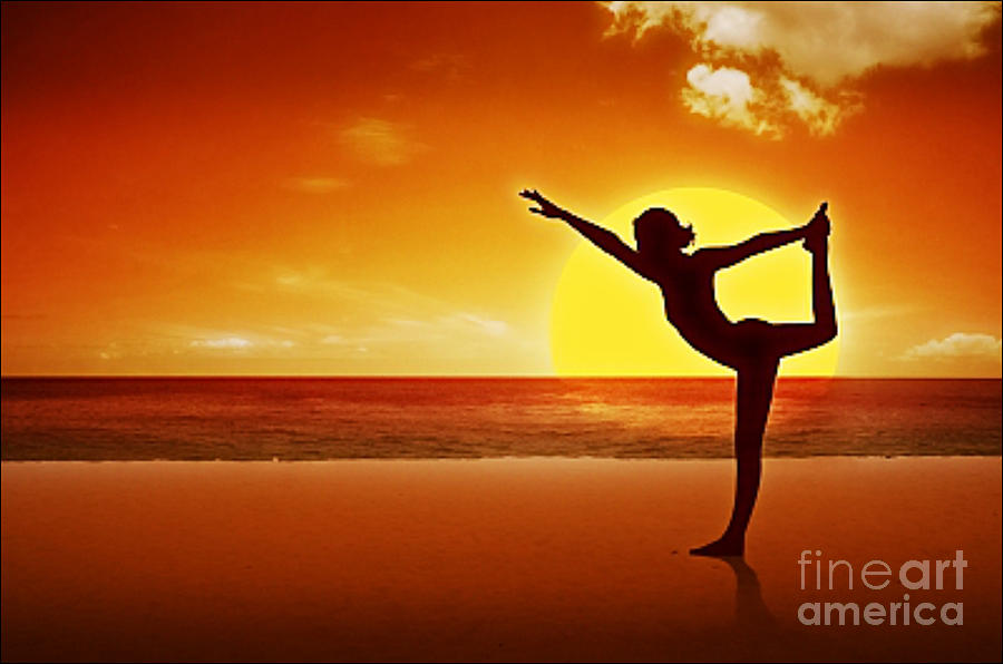 Sunset Beach Yoga Digital Art  - Sunset Beach Yoga Fine Art Print