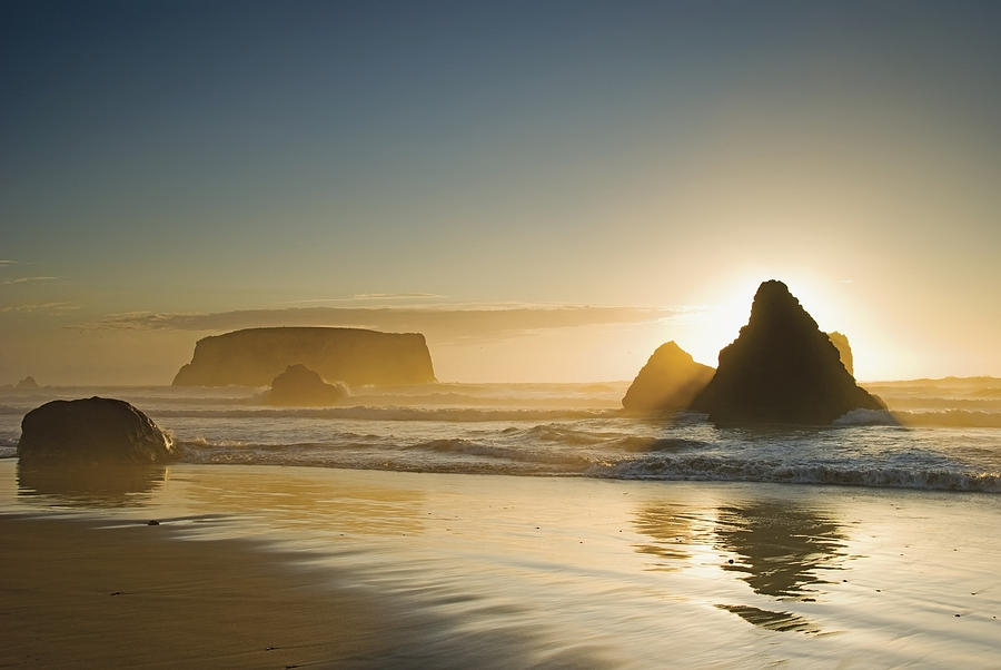 Sunset Behind Offshore Rocks Bandon Photograph  - Sunset Behind Offshore Rocks Bandon Fine Art Print