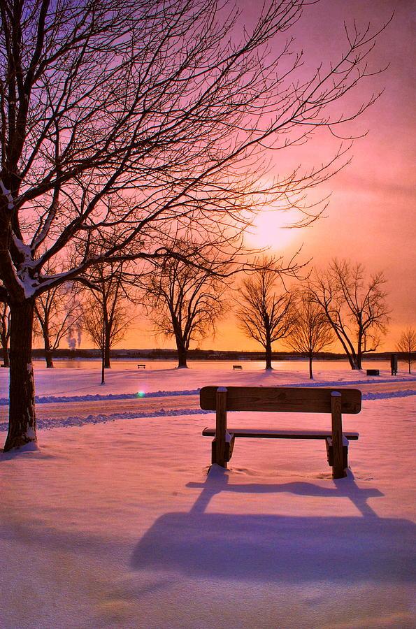 Sunset Bench Photograph