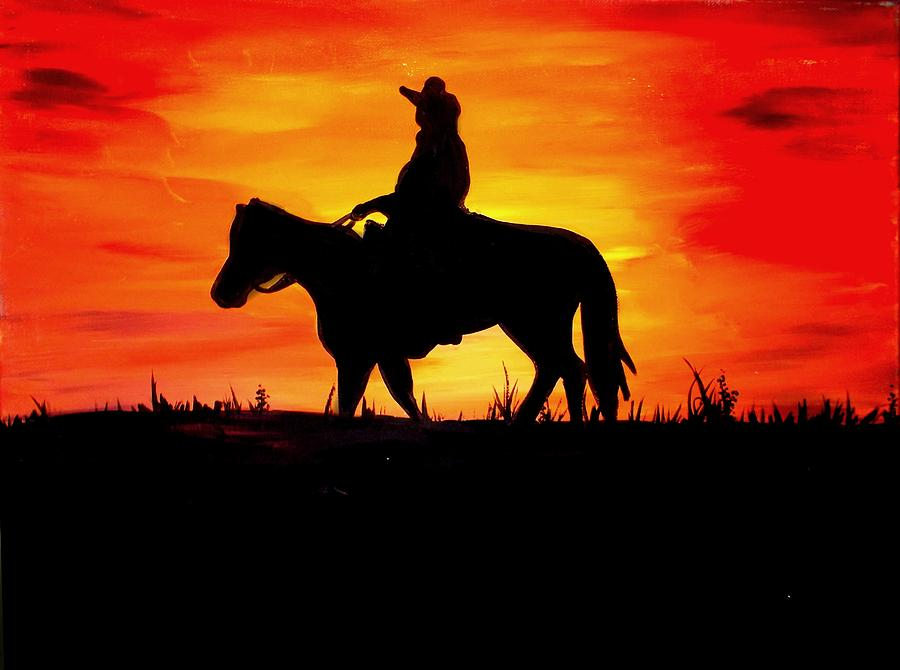Sunset Cowboy is a painting by Marisela Mungia which was uploaded on ...