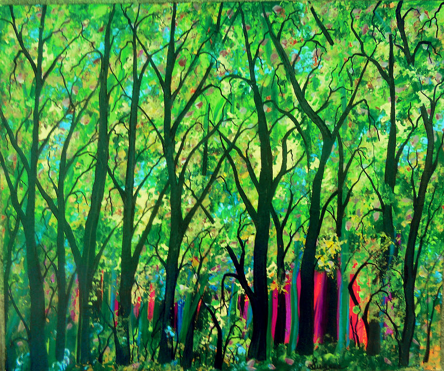 Sunset Forest Painting  - Sunset Forest Fine Art Print