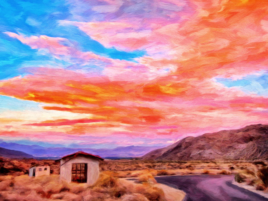 Sunset From Palm Canyon Painting