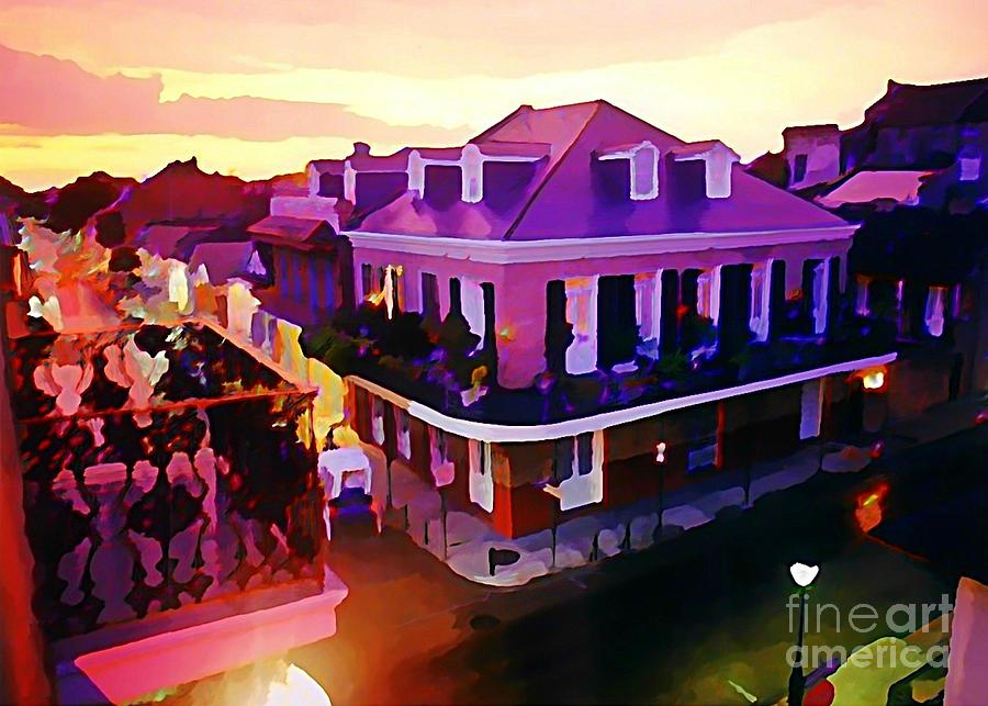 Sunset From The Balcony In The French Quarter Of New Orleans Painting  - Sunset From The Balcony In The French Quarter Of New Orleans Fine Art Print