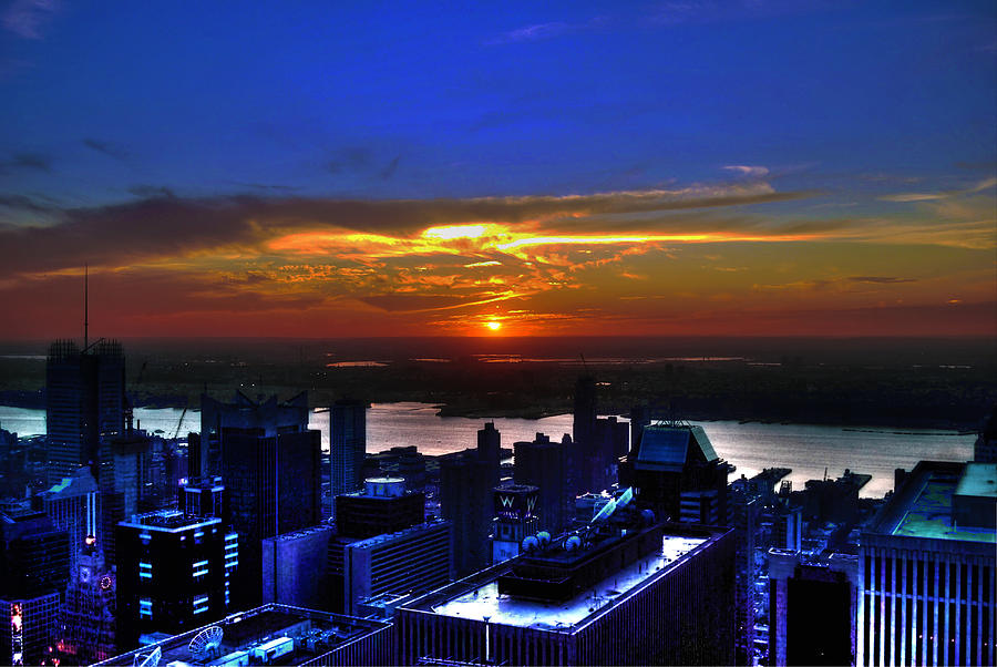 Sunset From The Empire State Building Photograph