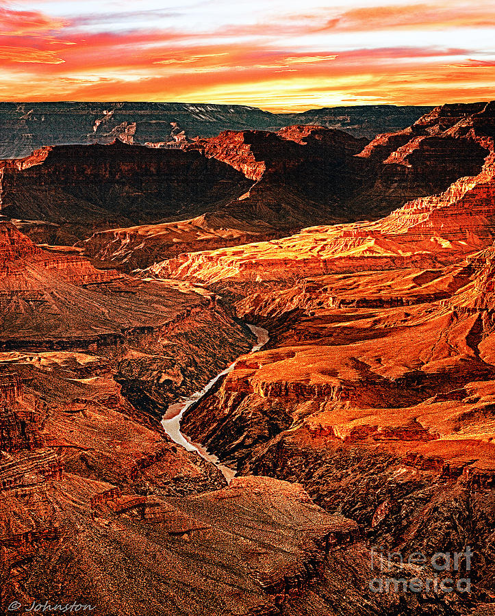 Sunset Grand Canyon West Rim Digital Art  - Sunset Grand Canyon West Rim Fine Art Print
