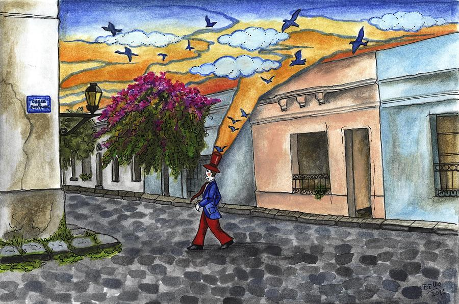 Sunset In Colonia Del Sacramento Painting