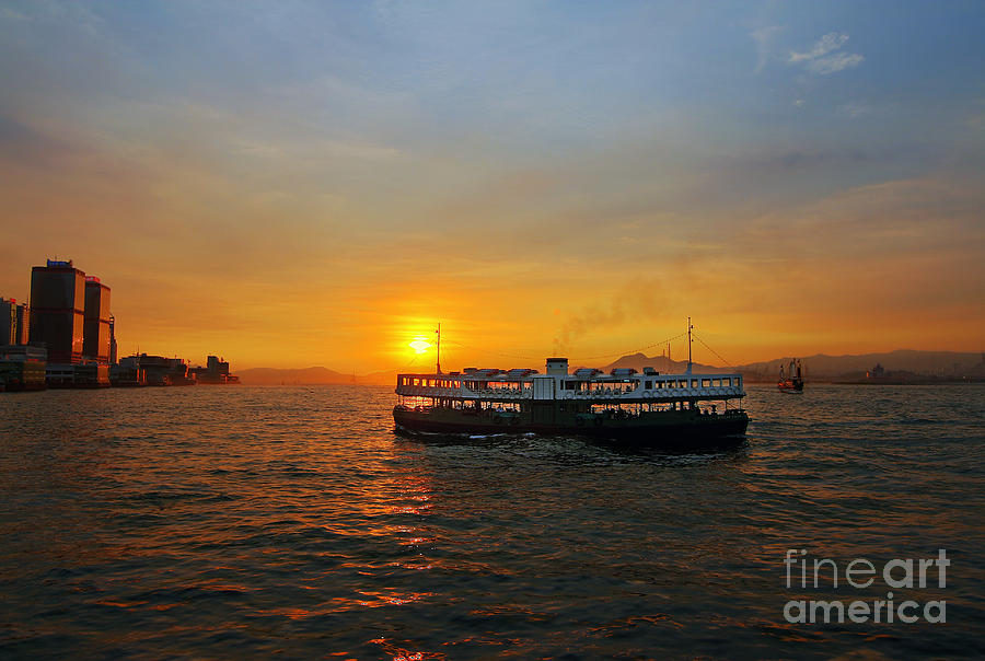 Sunset In Hong Kong With Star Ferry Photograph