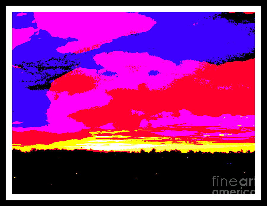 Sunset In Red Blue Yellow Pink Photograph  - Sunset In Red Blue Yellow Pink Fine Art Print