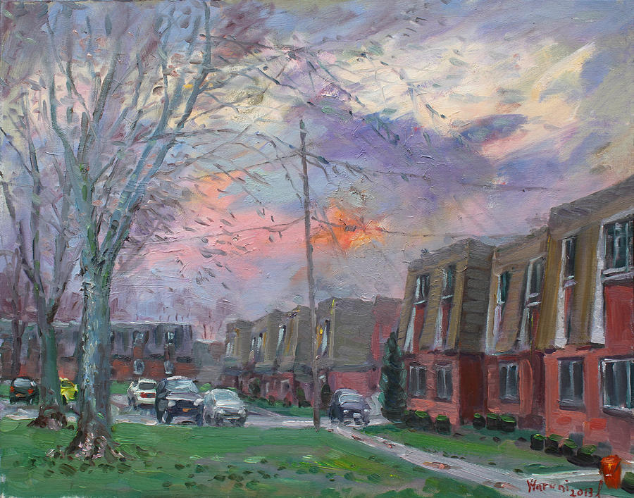 Sunset In Royal Park Apartments Painting  - Sunset In Royal Park Apartments Fine Art Print
