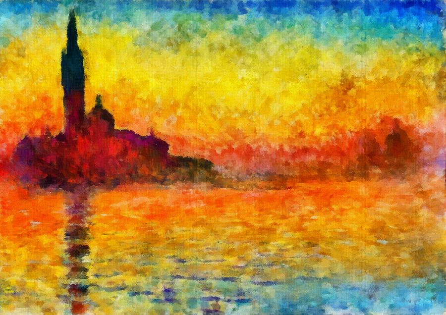 Sunset In Venice Painting