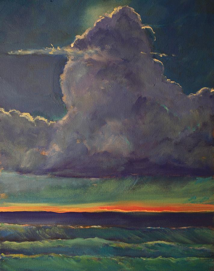 Seascape Painting - Sunset Moonglow by Jim Noel