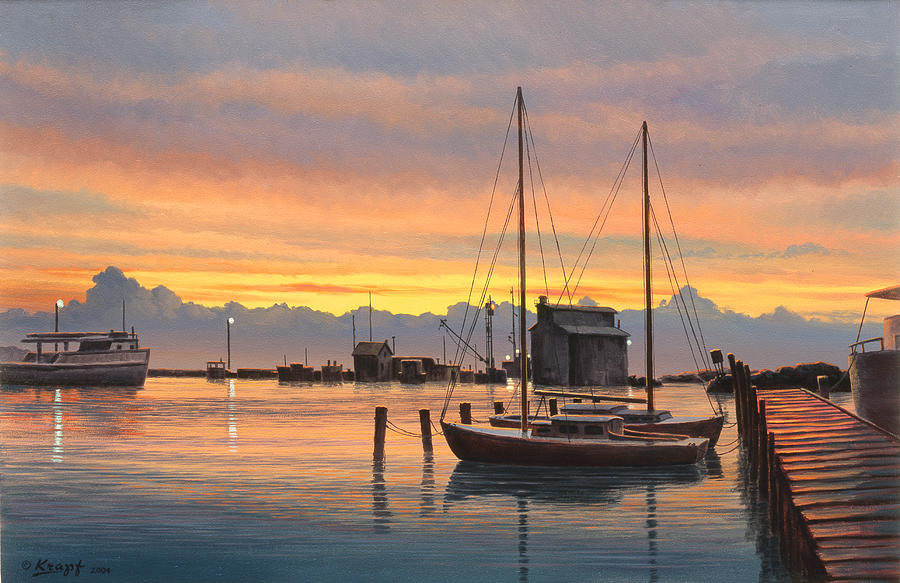 Sunset-north Dock At Pelee Island   Painting