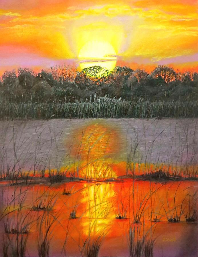 Sunset On Floridas Lake Painting