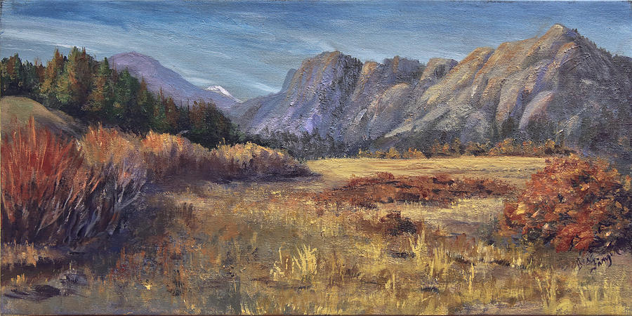 Sunset On Rocky Peaks Painting