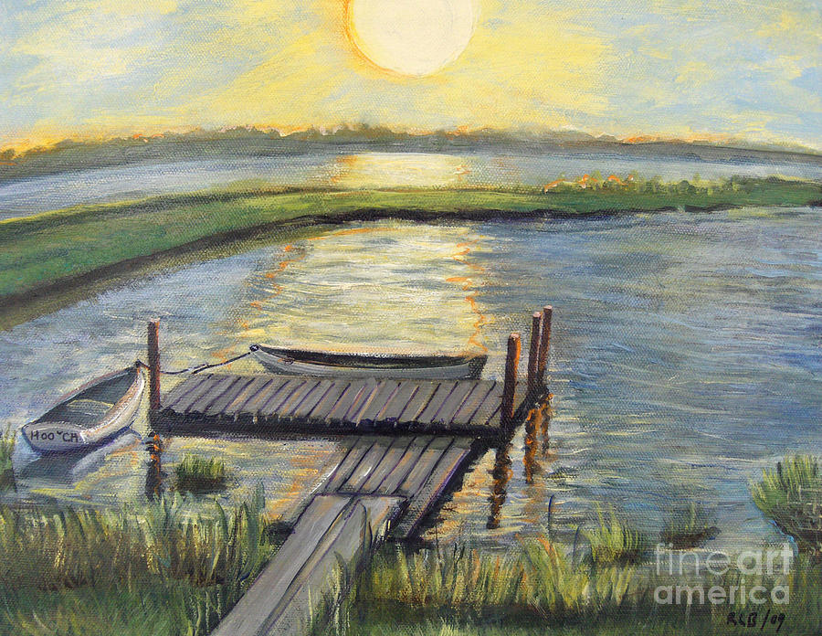Falmouth Painting - Sunset On The Bay by Rita Brown