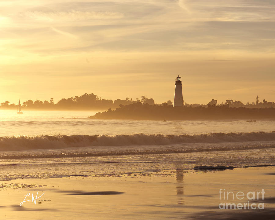 Capitola Photograph - Sunset On The Lighthouse In Santa Cruz Harbor by Artist and Photographer Laura Wrede