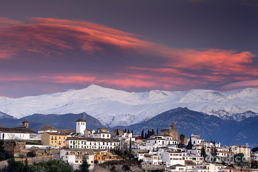 Sunset Over Granada And The Alhambra Castle Photograph