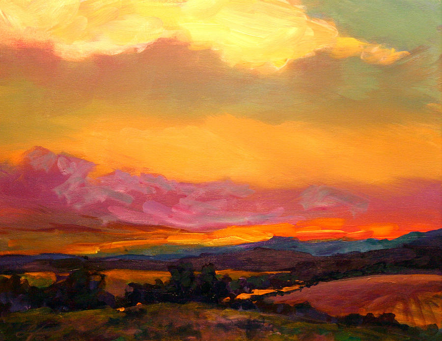 Sunset Over Green Mountains Painting