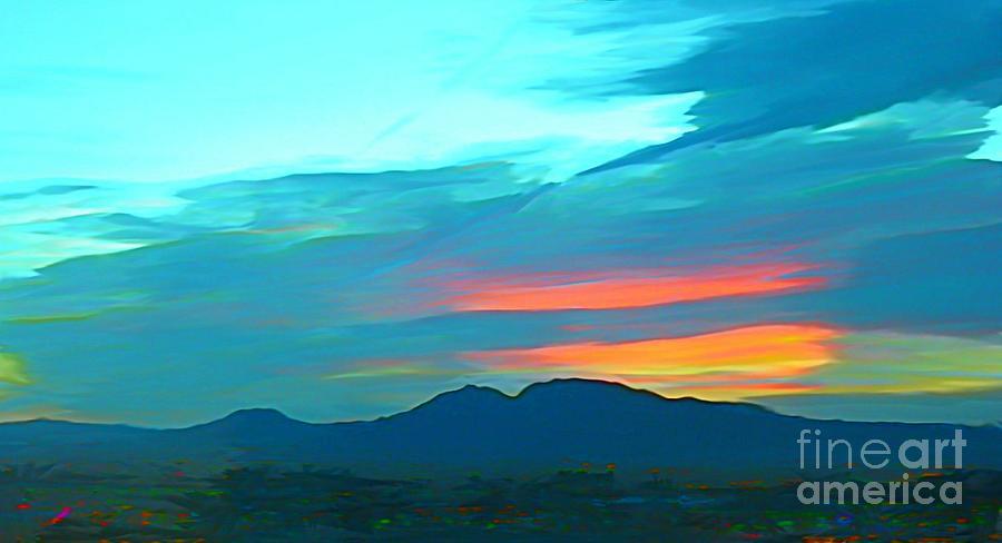 Sunset Over Las Vegas Hills Painting
