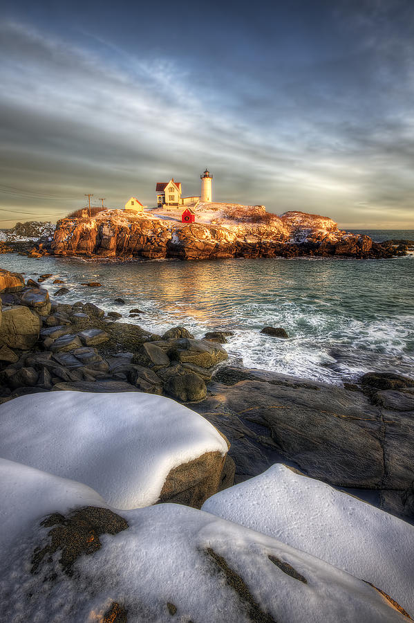 Sunset Over Nubble Light Photograph  - Sunset Over Nubble Light Fine Art Print