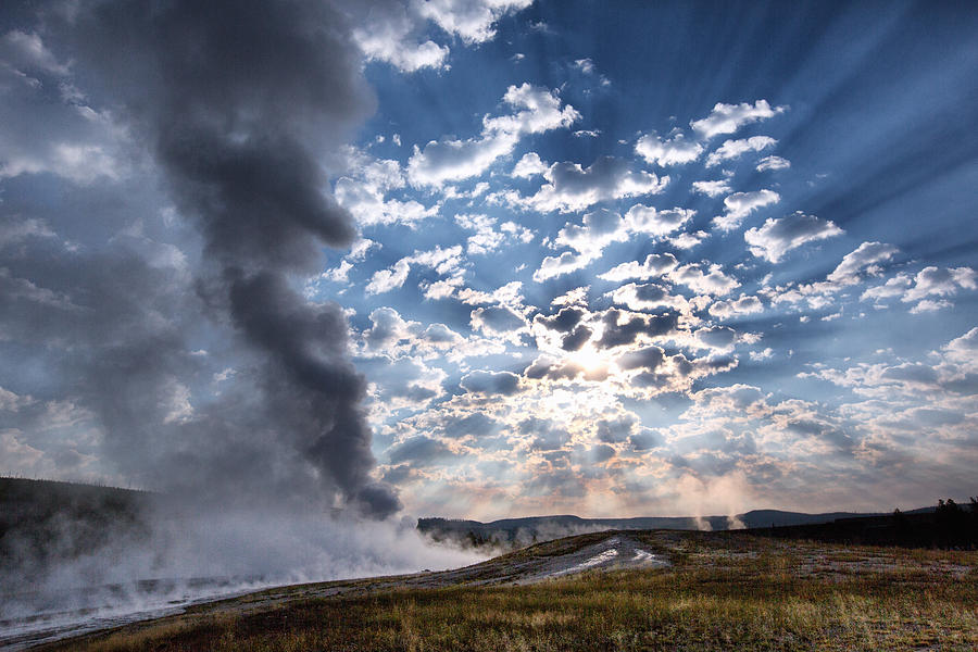 Sunset Over Old Faithful - Horizontal Photograph