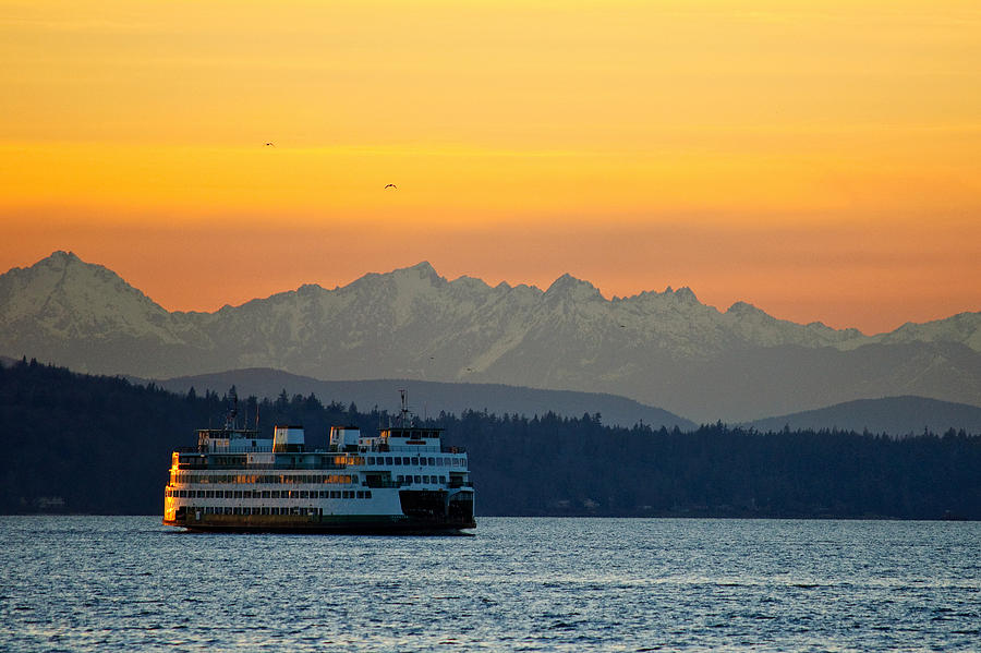 Sunset Over Olympic Mountains Photograph