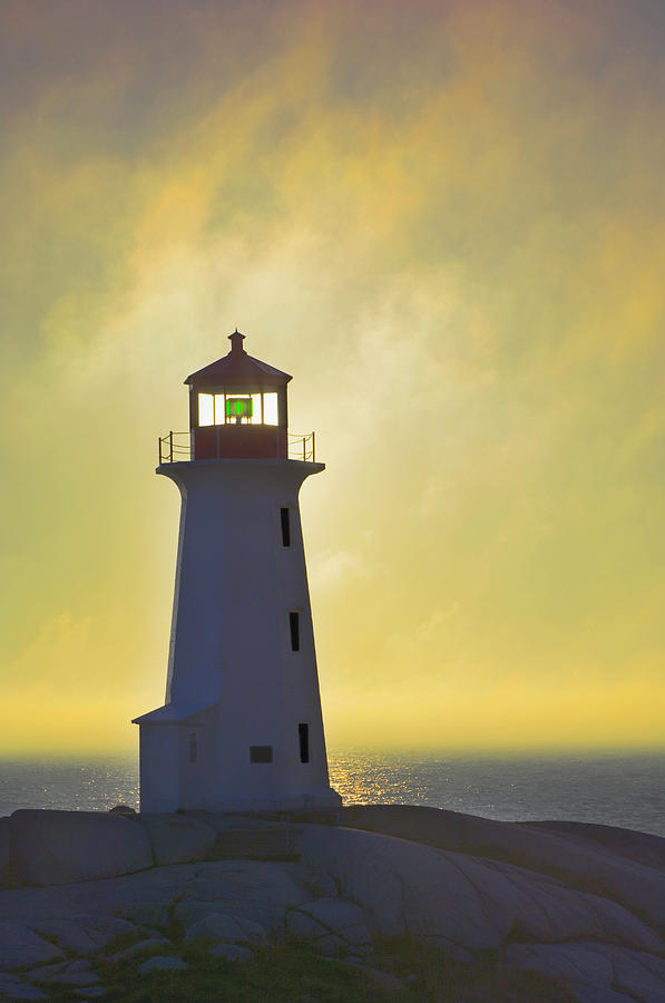 Sunset Over Peggys Cove Lighthouse Photograph