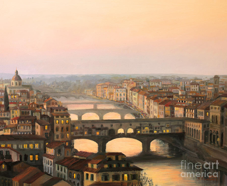 Sunset Over Ponte Vecchio In Florence Painting