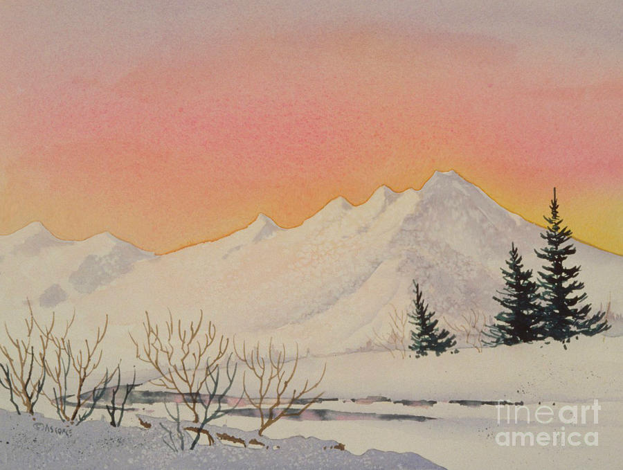 Sunset Over Snowy Mountains Painting by Teresa Ascone
