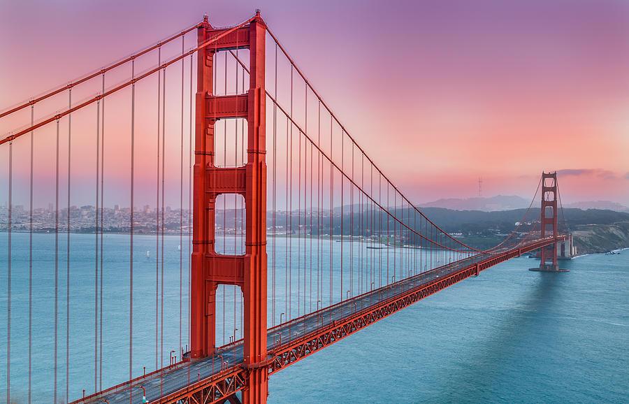 Afternoon Photograph - Sunset Over The Golden Gate Bridge by Sarit Sotangkur