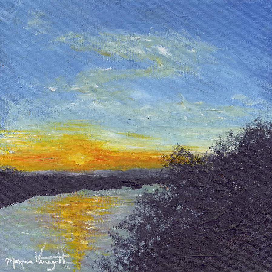 Sunset Over The Mississippi Painting  - Sunset Over The Mississippi Fine Art Print