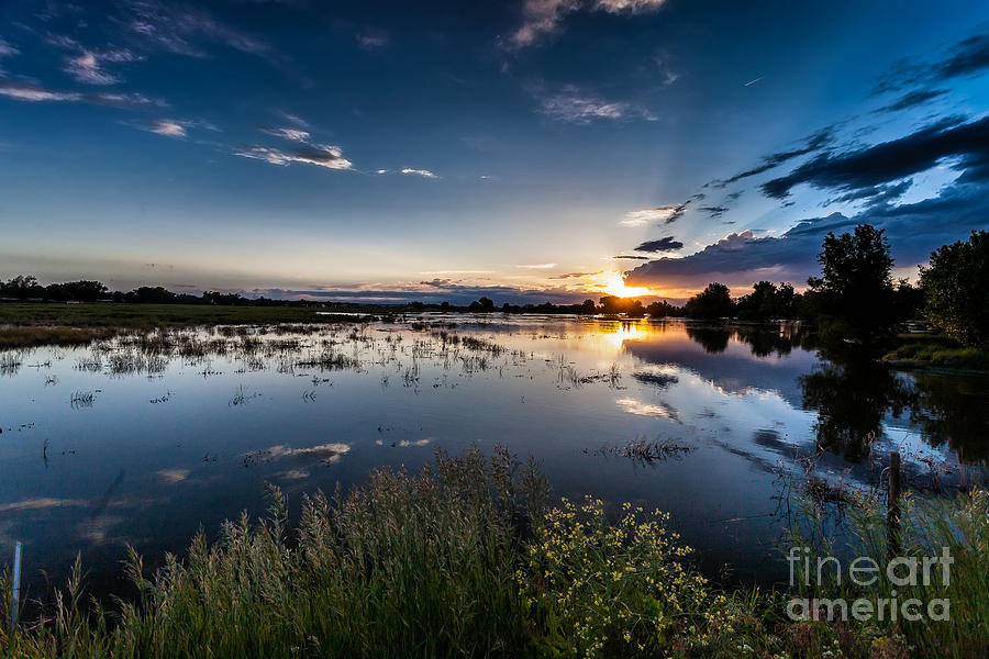 Sunset Over The River Photograph