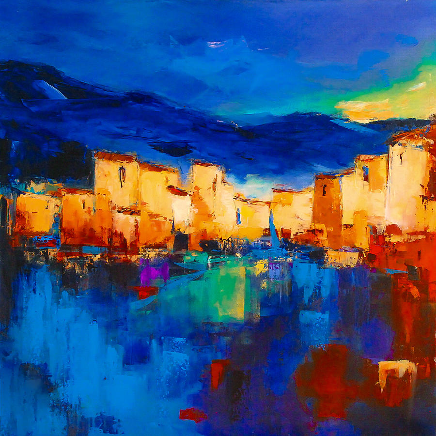 Sunset Over The Village Painting