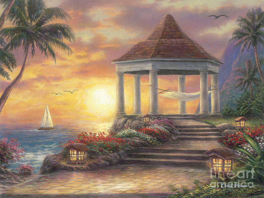 Gazebo Painting - Sunset Overlook by Chuck Pinson