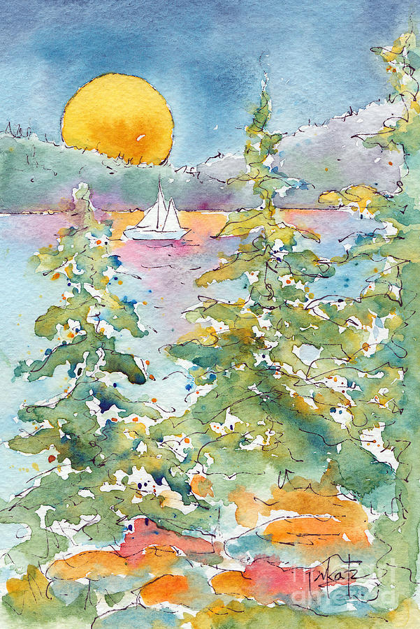 Sunset Sail On Waskesiu Lake Painting