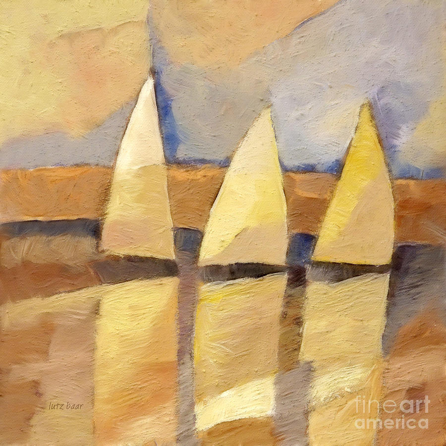 Sunset Sailing Painting  - Sunset Sailing Fine Art Print